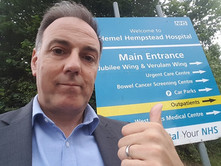 Cllr Adrian England outside Hemel Hospital