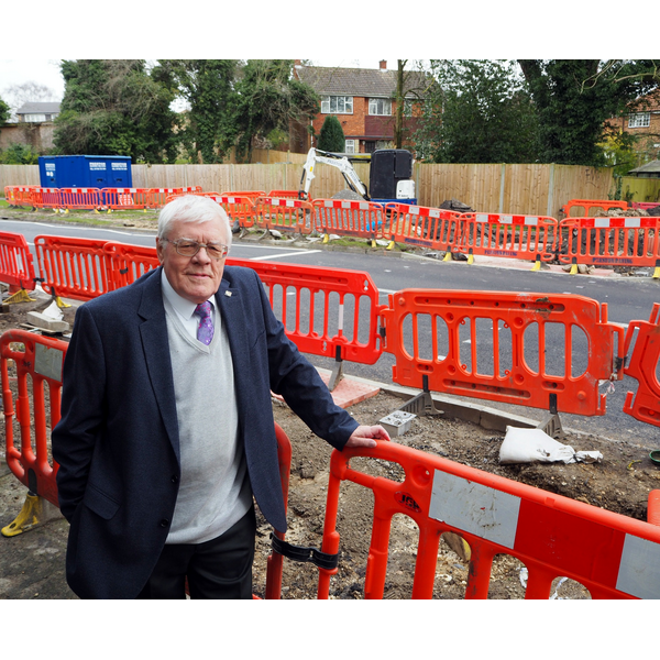 Cllr Ron Tindall by Queensway Crossing Works April 2018