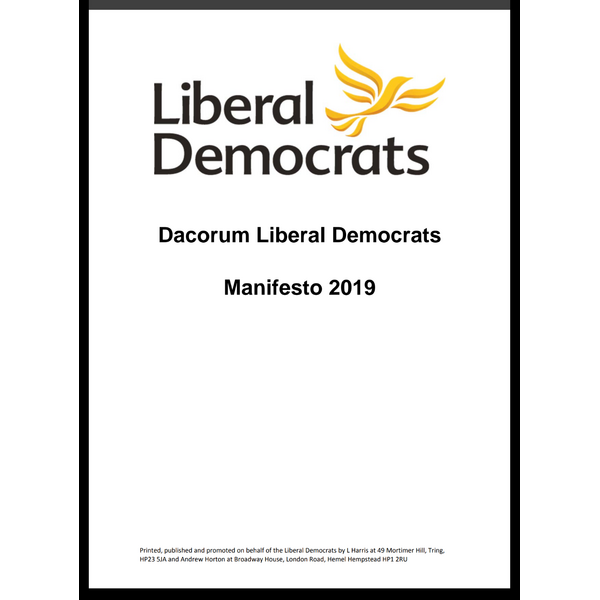 Cover of Dacorum LD Manifesto 2019