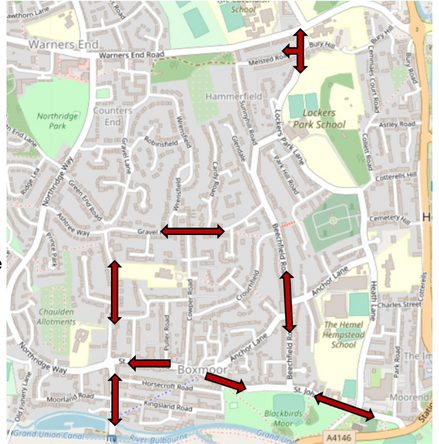 Map of Boxmoor Traffic issues